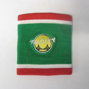 customized woven / jacquard wristband green red