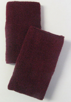 Maroon Burgundy Long Athletic Wristbands
